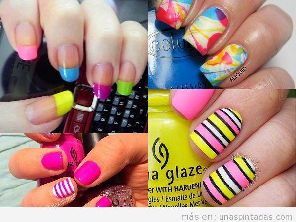 Decoraciones de uñas de primavera con colores vivos