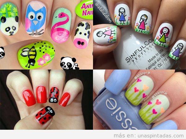 Decoraciones de uñas de primavera con dibujos