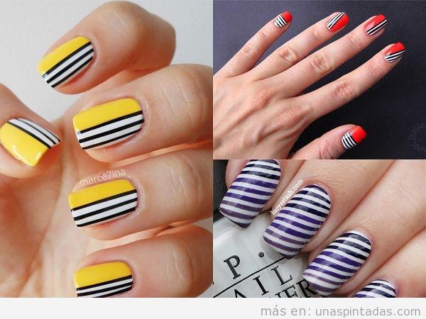 Decoración de uñas con rayas negras