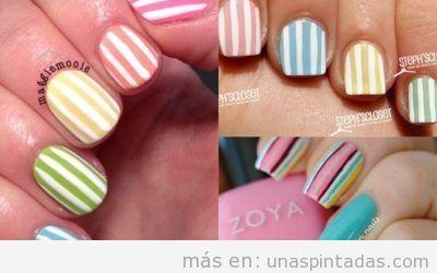 Uñas de rayas de colores, diseños vivos perfectos para el verano