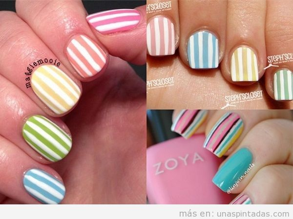 Decoraciones uñas de rayas colores pastel para verano