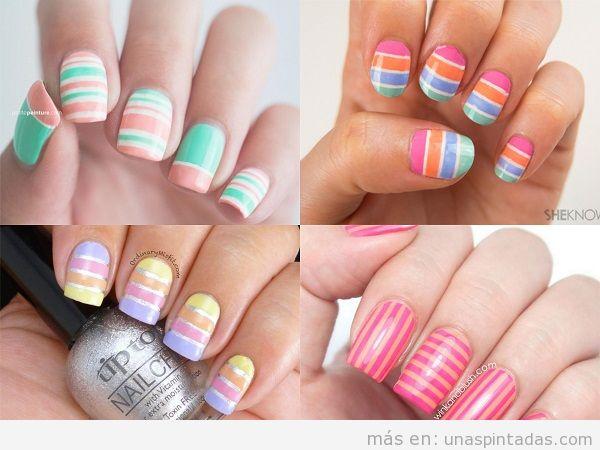 Decoración de uñas con rayas blancas
