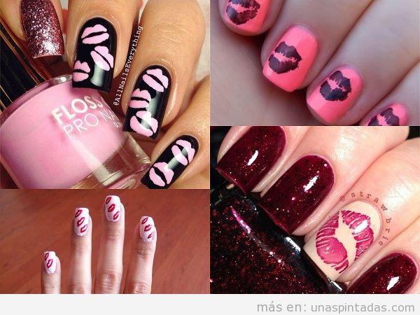 Diseños de uñas de San Valentin con besos
