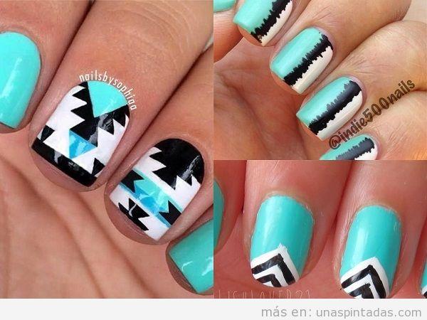 Decoraciones de uñas turquesas, blanco y negro
