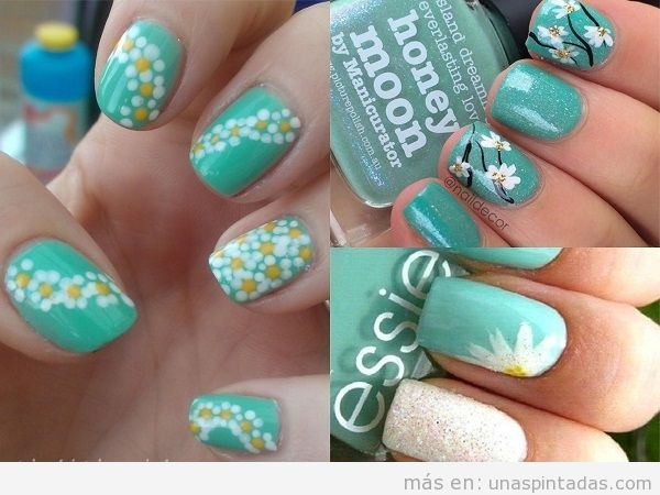 Diseños de uñas color turquesa con dibujos de flores