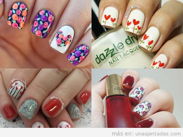 Diseños de uñas de San Valentin con flores