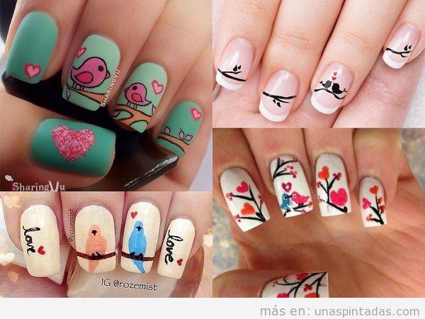 Diseños de uñas de San Valentin con pájaros del amor