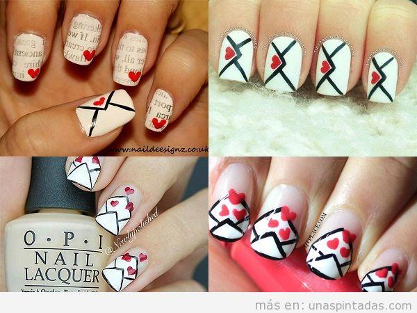 Decoraciones de uñas para San Valentin con cartas de amor