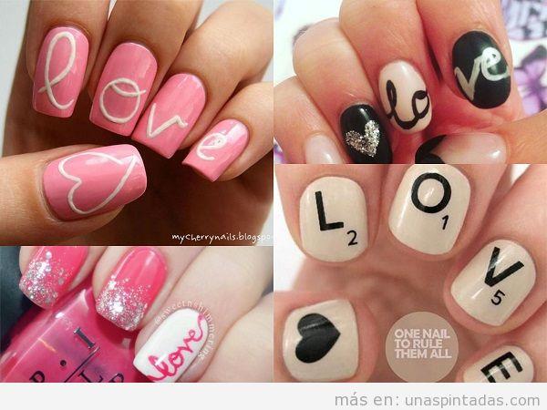 Decoraciones de uñas para San Valentin con la palabra Love