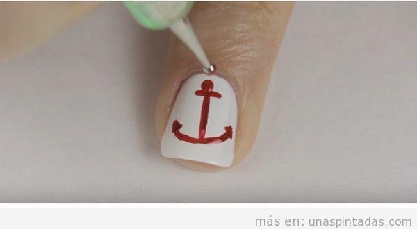 Tutorial decoración uñas dibujar ancla paso a paso 3