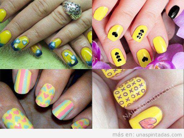 Uñas con corazones de colores en amarillo
