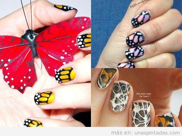 Uñas decoradas con alas de mariposa en varios colores