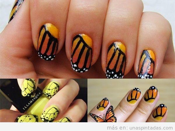 Uñas de alas de mariposa en amarillo