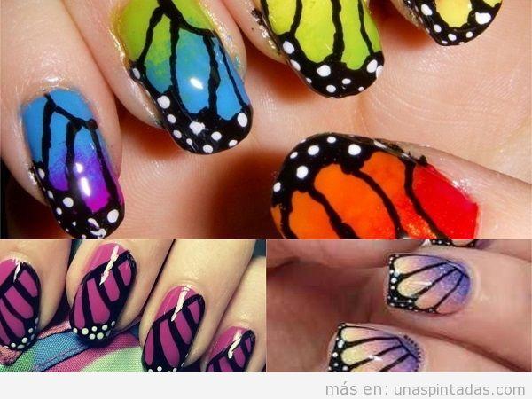 Uñas pintadas con alas de mariposa en varios colores