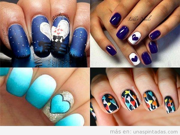 Uñas decoradas en azul con corazones de colores