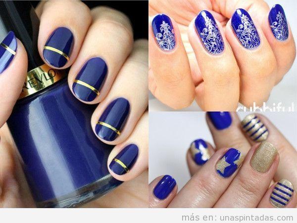 Uñas azules en dorado