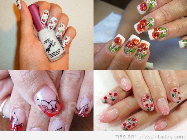 Varios modelos uñas pintadas con cerezas