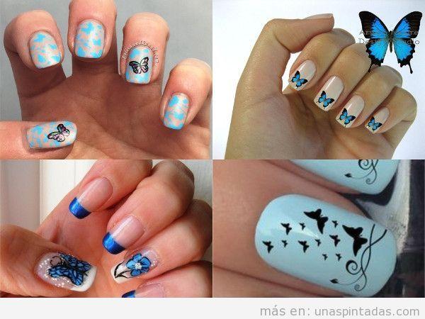 Uñas pintadas con mariposas en azul
