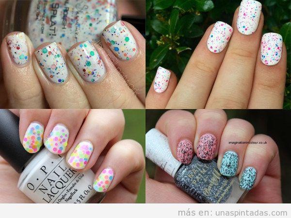 Uñas pintadas con confeti blancas