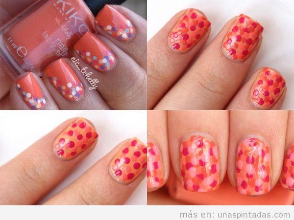 Confeti en uñas color coral