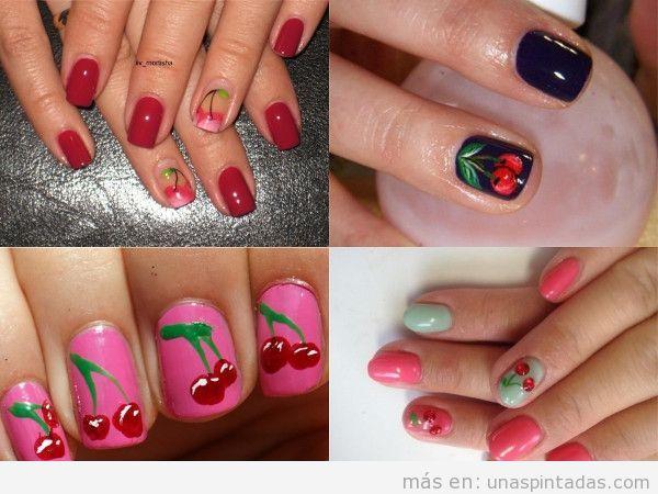 Uñas cortas con cerezas