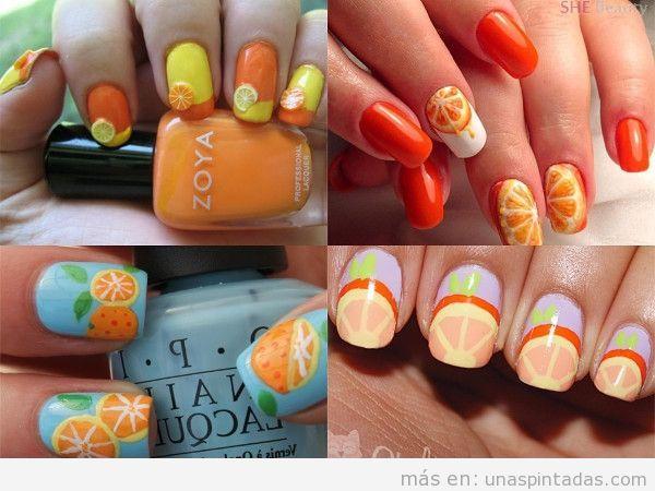 Uñas decoradas con naranjas en forma cuadrada