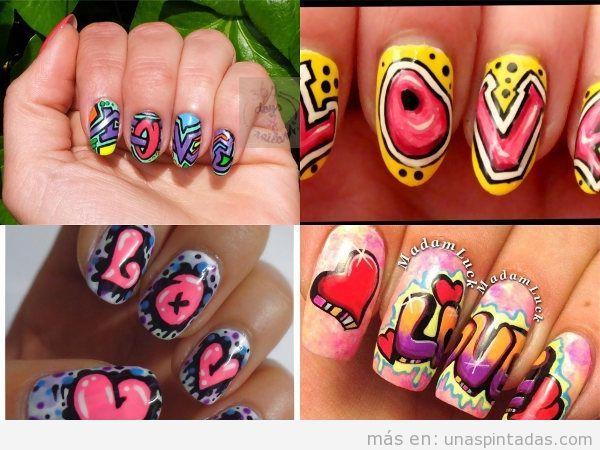 Uñas de grafiti para poner en tus manos tu lado más artístico