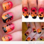 Decoración de uñas de atardecer, la puesta de sol en tus manos