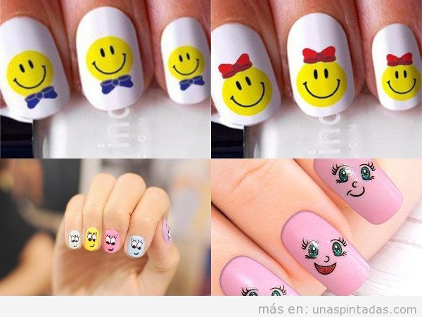 Uñas decoradas con emoticonos