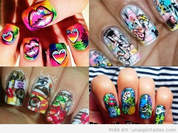 Uñas decoradas con graffitis