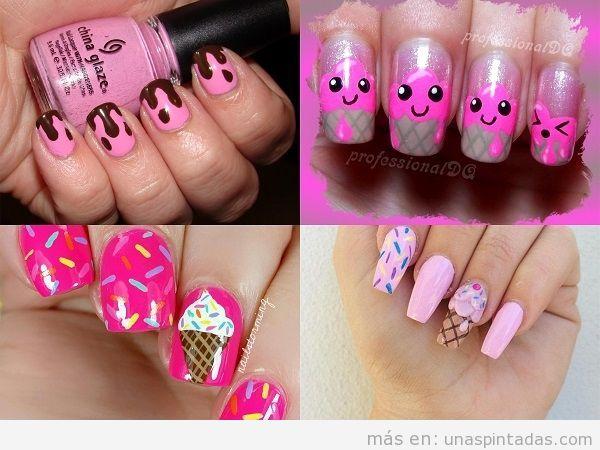 Uñas en rosa con helados