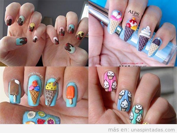 Uñas decoradas con helados en varios colores
