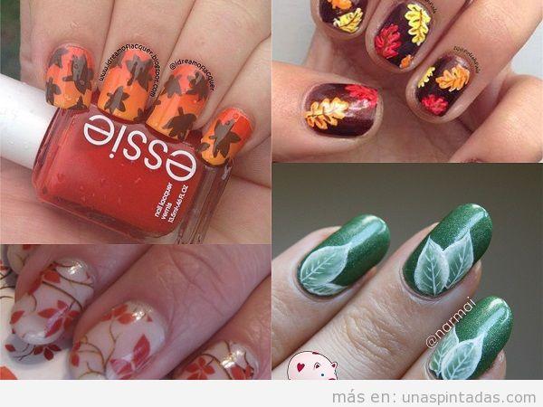 Uñas decoradas con hojas