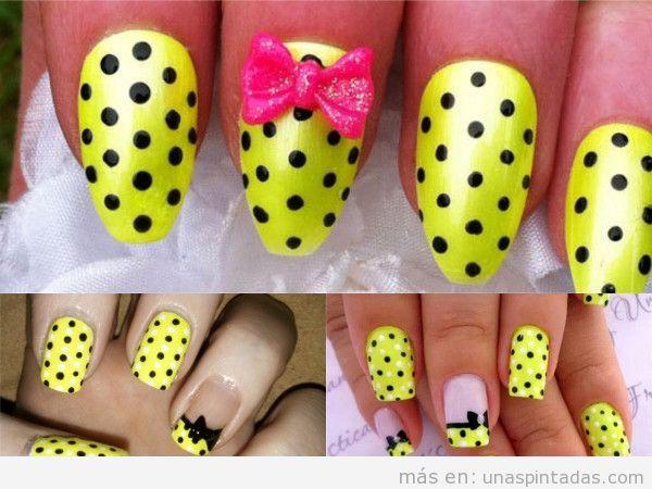 Uñas con lazos en amarillo