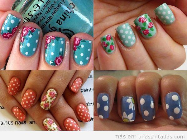Uñas decoradas con lunares y flores