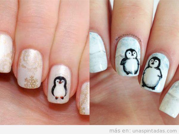 Uñas con pingüinos