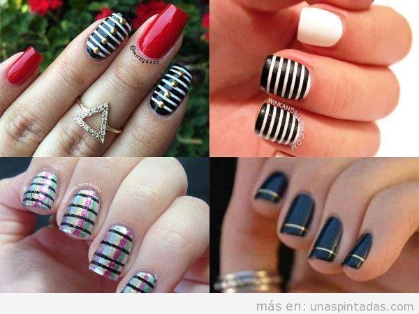 Uñas decoradas con rayas negras