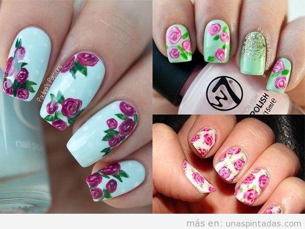 unas decoradas con rosas y fondo claro - Unas Decoradas