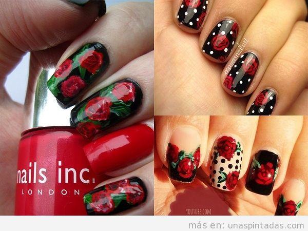 Unas decoradas con rosas rojas y fondo negro