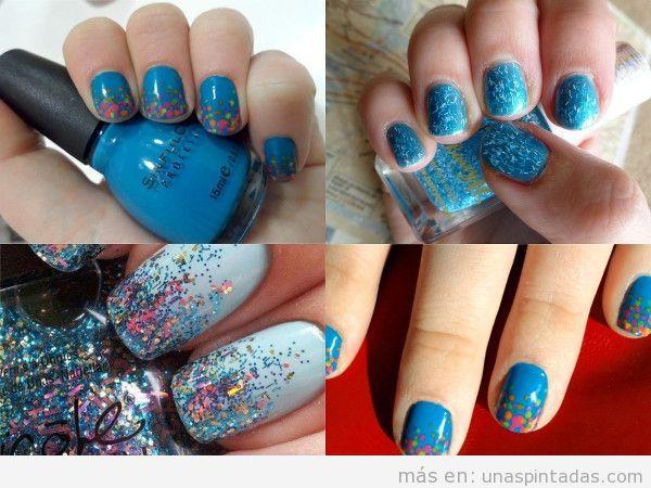 Uñas con confeti en azul