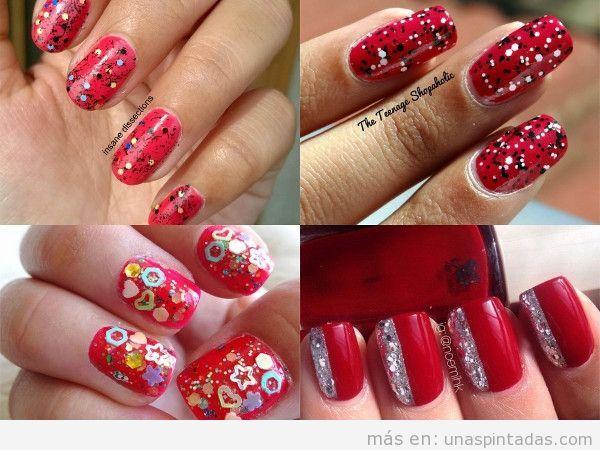 Uñas decoradas en rojo con confeti