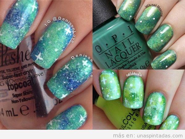 Decoraciones de uñas con galaxias verdes