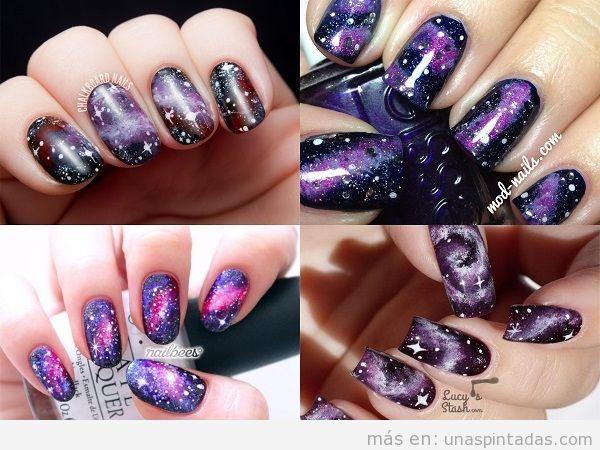 Decoraciones de uñas con galaxias moradas