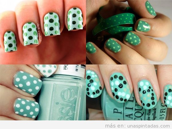Uñas decoradas con lunares color verde