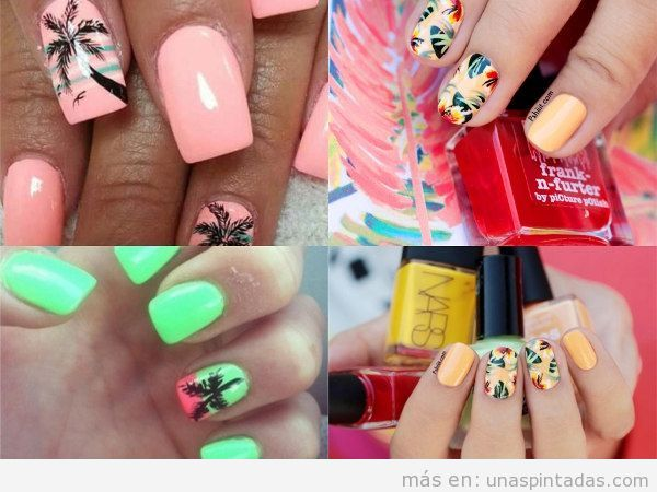 Uñas pintadas con decoración tropical