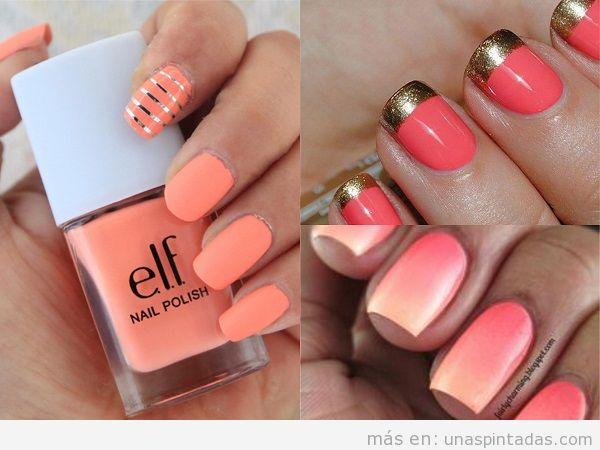Uñas elegantes color coral