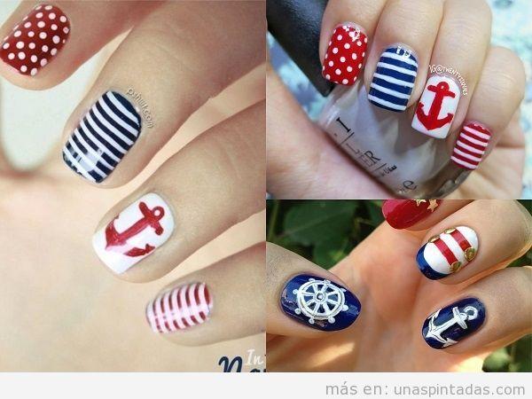 Decoraciones de uñas marineras con ancla