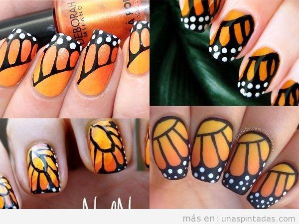 Uñas mariposa monarca
