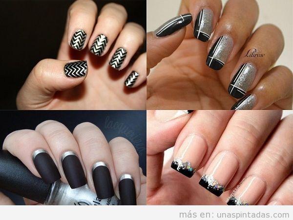Uñas en negro con plateado