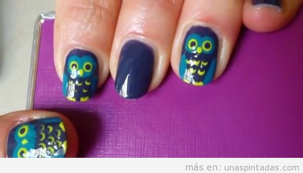 Uñas decoradas con búhos: Tus Uñas Pintadas Con Búhos En Segundos